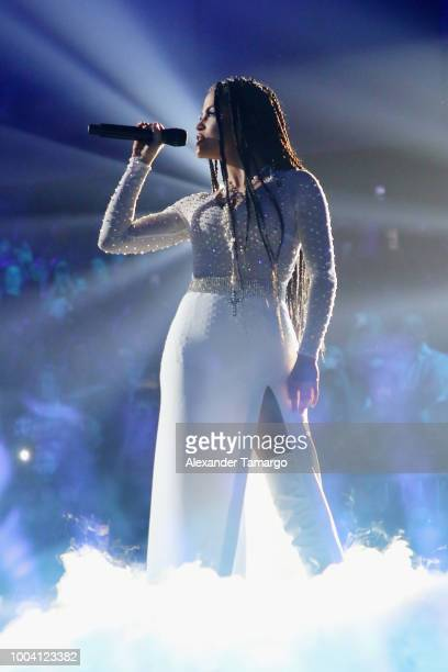 Natti Natasha performs on stage at Univision's Premios Juventud 2018 at Watsco Center on July 22 2018 in Coral Gables Florida