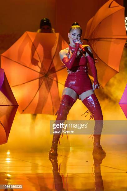Natti Natasha performs onstage during Premios Juventud 2020 at Hard Rock Live at the Seminole Hard Rock Hotel Casino on August 9 2020 in Hollywood...
