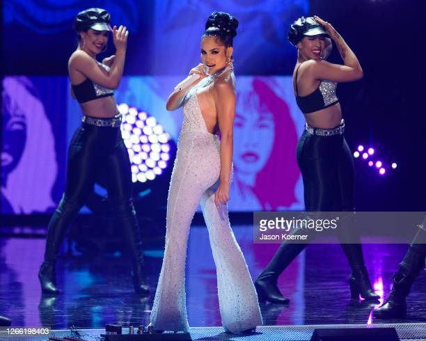 Natti Natasha performs onstage during the Selena Tribute at Premios Juventud at Hard Rock Live at Seminole Hard Rock Hotel Casino on August 9 2020 in...