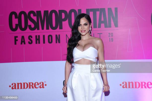 Natti Natasha poses for photos during the red carpet of Cosmopolitan Fashion Night at Campo Marte on March 12 2019 in Mexico City Mexico