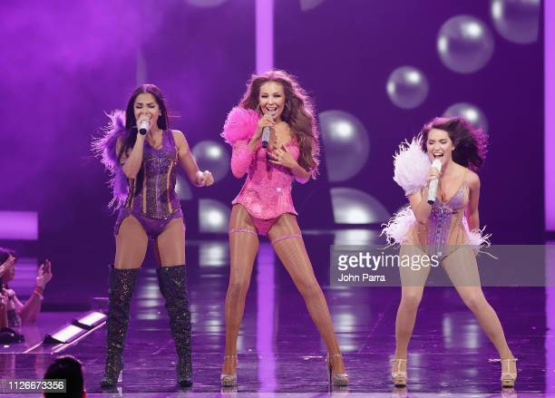 Natti Natasha Thalia and Lali Esposito perform on stage at Univision's 31st Edition Of Premio Lo Nuestro A La Musica Latin at American Airlines Arena...