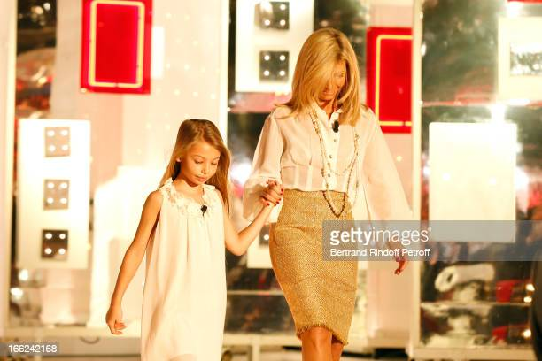 Natty Belmondo and her daughter Stella attend 'Vivement Dimanche' French TV Show for the 80th anniversary of JeanPaul Belmondo at Pavillon Gabriel on...
