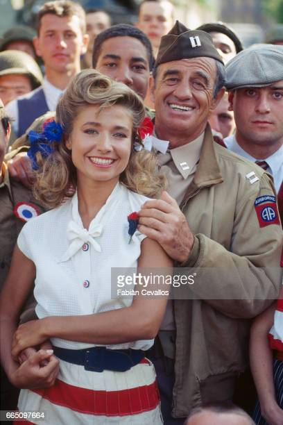 Natty Belmondo and husband French actor JeanPaul Belmondo on the set of the film 'Les Miserables' directed by French director Claude Lelouch and...