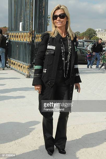 Natty Belmondo Tardivel arrives at the Christian Dior Pret a Porter show as part of the Paris Womenswear Fashion Week Spring/Summer 2010 on October 2...