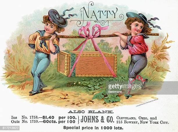 'Natty' cigar box label with illustration depicting boys in sailor suits carrying a cigar box wrapped in a pink bow Prices printed below Undated...