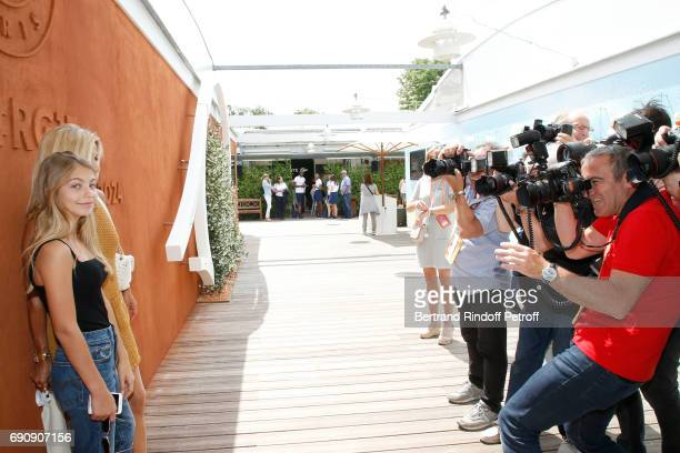 Natty Tardivel and her daughter Stella attend the 2017 French Tennis Open Day Four at Roland Garros on May 31 2017 in Paris France