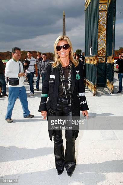 Natty Tardivel arrives at the Christian Dior Pret a Porter show as part of the Paris Womenswear Fashion Week Spring/Summer 2010 on October 2 2009 in...