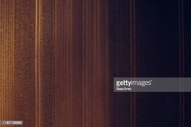 natural abstract art - potato field seen from above - brown stock pictures, royalty-free photos & images