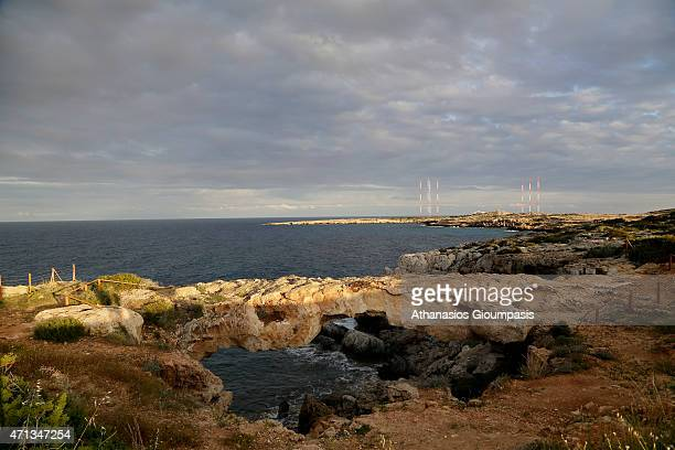 A natural arch in the Ayia Napa Sea Caves area of Cape Greco on April 10 2015 in Ayia Napa Cyprus Cape Greco is a National Forest Park located in...