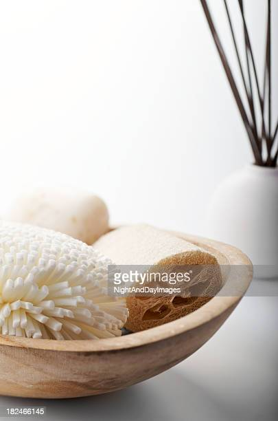 Natural Bath Spa Items Still Life on White Background