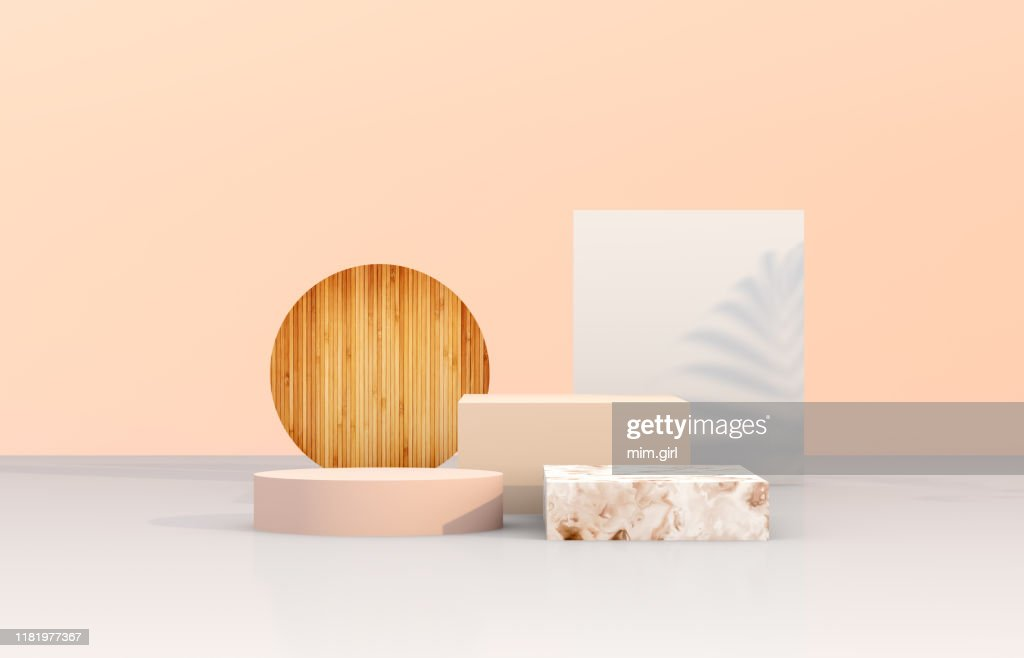 Natural beauty podium backdrop with geometric shape for cosmetic product display. : Stock Photo