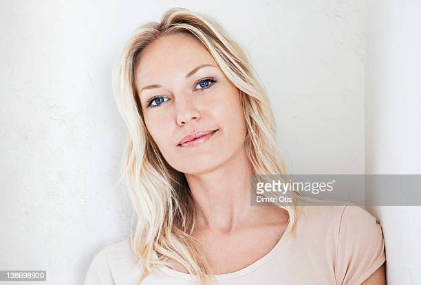 natural beauty portrait of relaxed blonde woman - blue eyes stock pictures, royalty-free photos & images