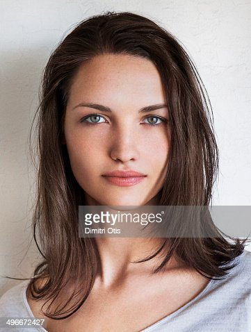 natural beauty portrait of young brunette woman stock