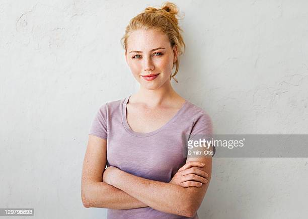 natural beauty portrait of young woman smiling - neckline stock pictures, royalty-free photos & images
