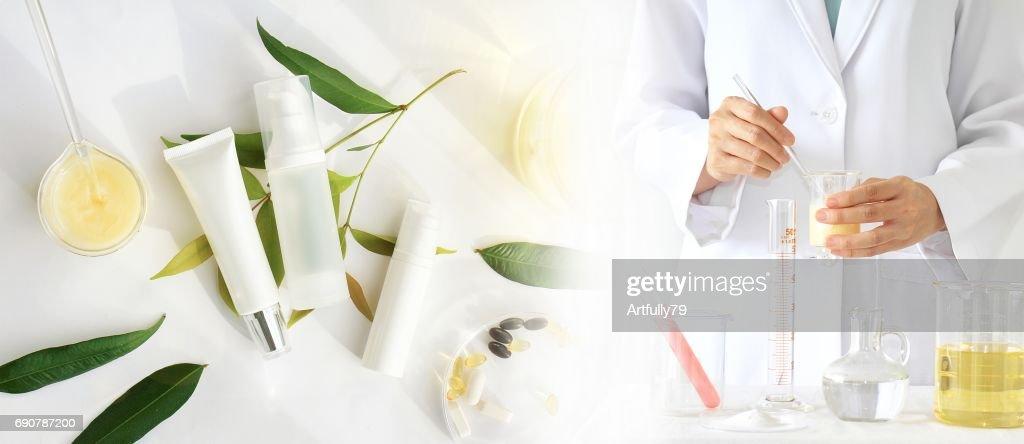 自然の美しさの製品コンセプト、医師、医学の実験、薬剤師化粧品、化粧品のボトル容器のための化学、モックアップをブランディングのための空白のラベルを策定します。 : ストックフォト