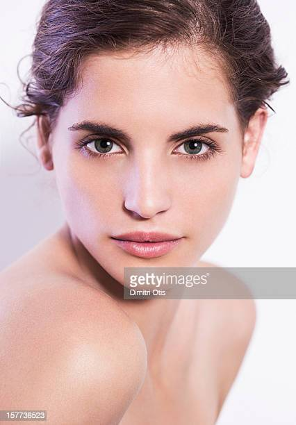 Natural beauty shot of young brunette woman