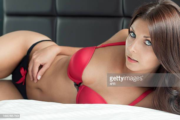 natural beauty with stunning eyes lying in bed (xxxl) - bare breasted babes stock pictures, royalty-free photos & images