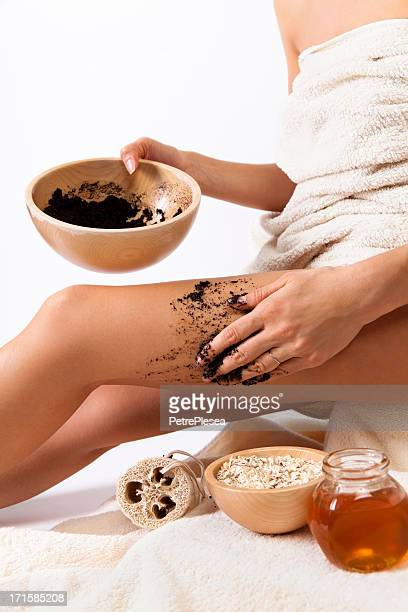 Natural body care. Cellulite massage with coffee scrub, cereals, honey
