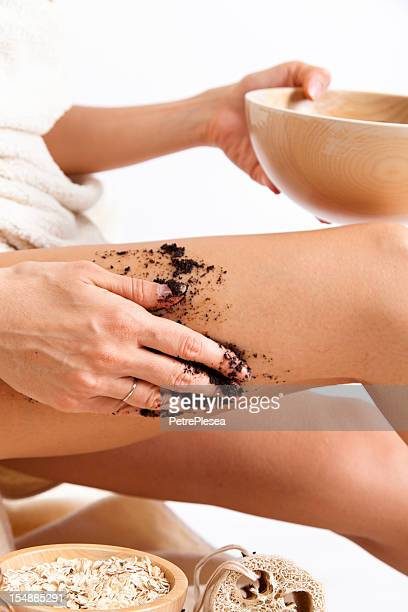 Natural Body Care. Homemade. Organic anti Cellulite Massage. Coffee. Oats.