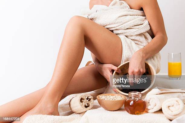 Natural body care with coffee scrub, cereals, honey. Organic. SPA.