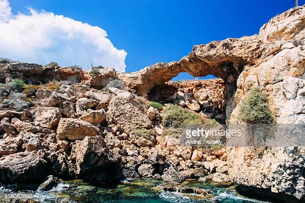 Natural bridge next to the Mediterranean sea near Cape Greko, Ayia Napa, Cyprus
