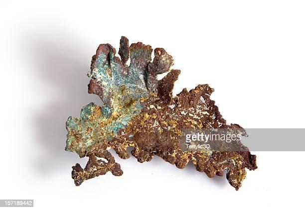 natural copper mineral with tarnish and green patina - terryfic3d bildbanksfoton och bilder