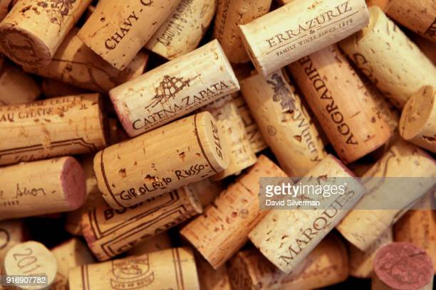 Natural cork wine stoppers, from a selection of wines both from Israel and world-wide, are shown in this photo illustration on February 9, 2018 in...