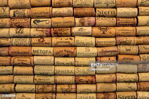 Natural cork wine stoppers from a selection of wines both from Israel and worldwide are shown in this photo illustration on February 9 2018 in Tel...