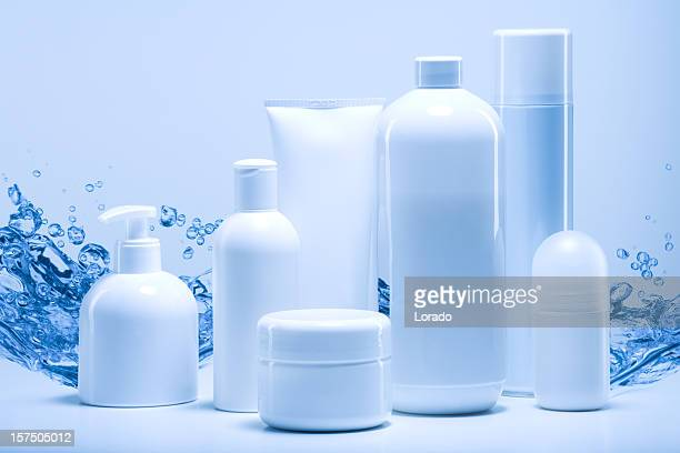 natural cosmetics against water background