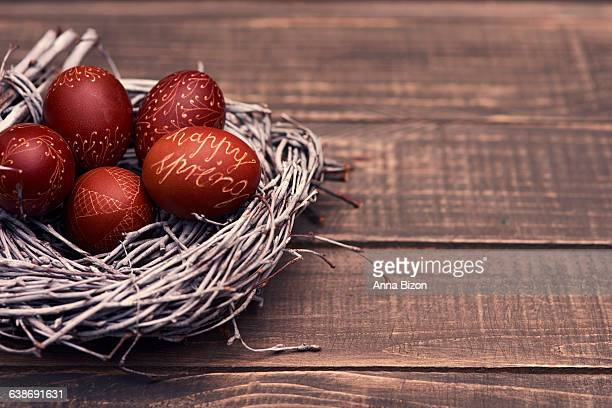 Natural Easter eggs in the nest. Debica, Poland