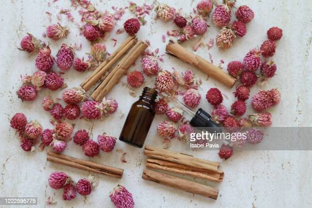 natural essential oil, cinnamon and dry flowers - mottled skin stock pictures, royalty-free photos & images