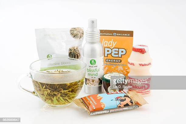 CA – Natural food trends include these items left to right Jasmine Bloom green tea blossom Blissful Mind by lotus wei 'Manuka Gold' Bio–Active Honey...