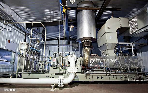 A natural gas fired turbine manufactured by Caterpillar Inc subsidiary Solar Turbines Inc runs a compressor at a Williston Basin Interstate Pipeline...