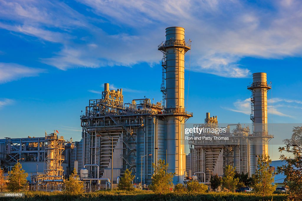 Natural gas fired turbine power plant,fall,field,CA : Stock Photo