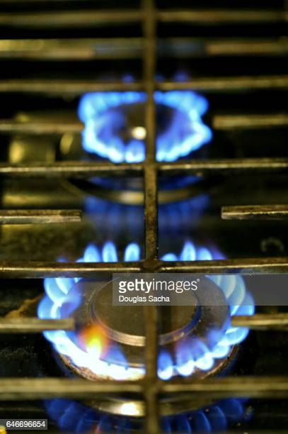 Natural gas flame on a Stove top burner