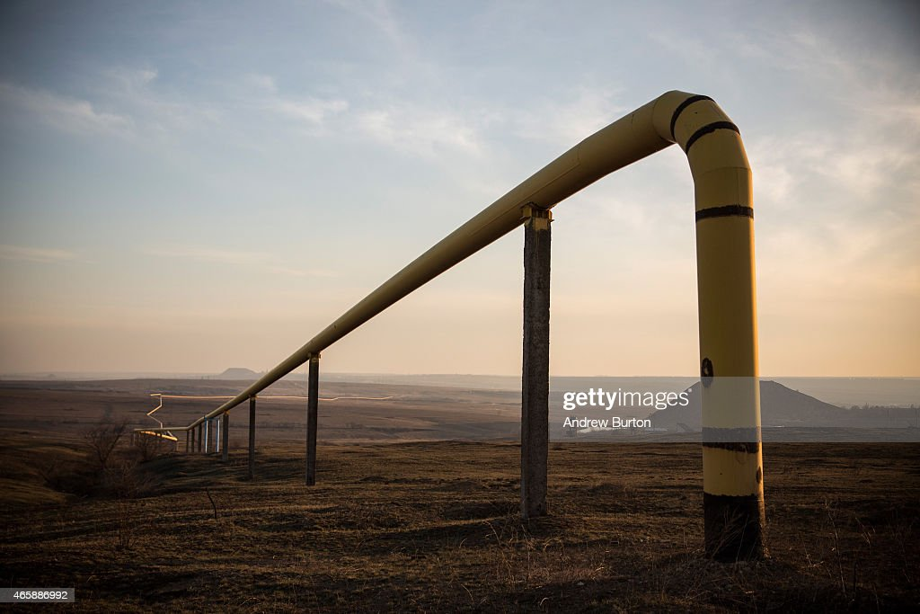 A natural gas line runs through the country side on March 11, 2015 outside Donetsk, Ukraine. Russia often tries to exert it's control over Ukraine through the price of natural gas.