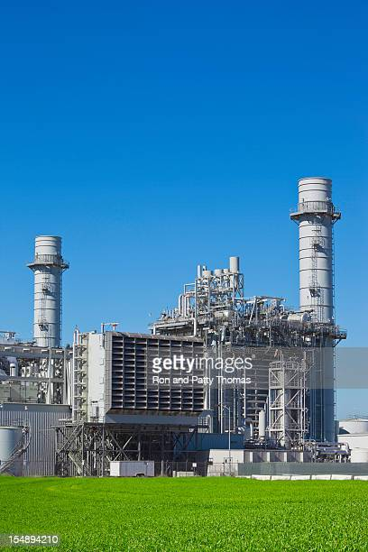 Natural gas-fired electrical power plant under blue sky