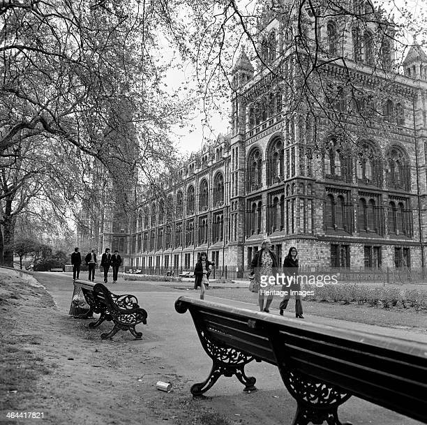 Natural History Museum London 1972 Exterior of the Museum from the south west with benches in the foreground