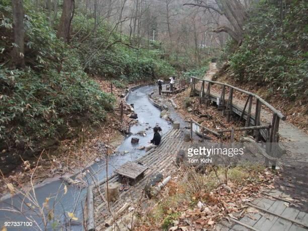 自然ホット spa(footbath) - 銭湯 ストックフォトと画像