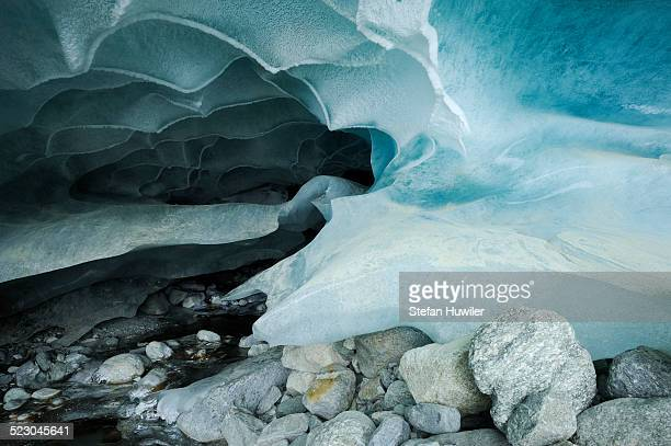 Natural ice cave in the Zinal Glacier, Zinal, Valais, Switzerland, Europe