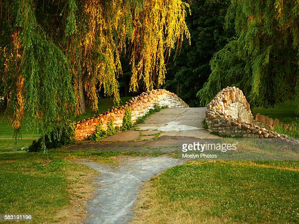 natural illumination-stone bridge in onondaga park - syracuse new york stock pictures, royalty-free photos & images