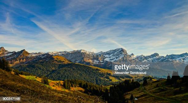 natural landscape of autumnal mountains, sunny weather, alps, switzerland - vaud canton stock photos and pictures