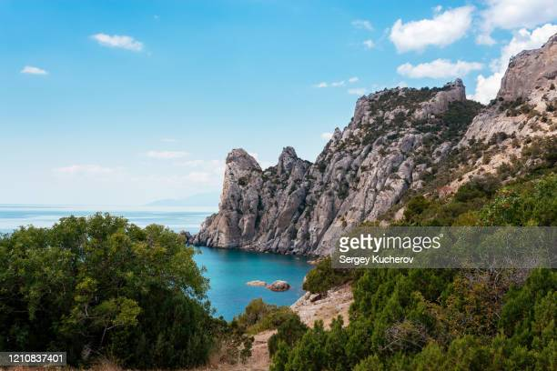 natural landscape of the coast of crimea - crimea stock pictures, royalty-free photos & images