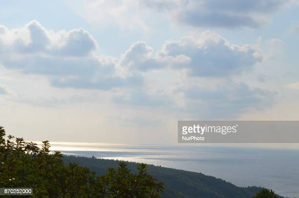 A natural landscape of the Dardanelles Strait and trees is seen on the Gallipoli peninsula in Canakkale Turkey on November 4 2017 ''Turkey is...