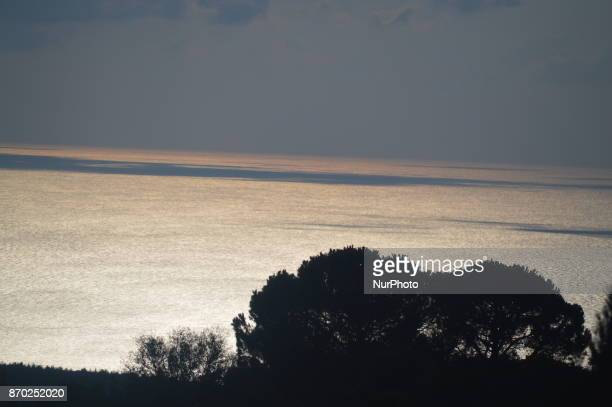 A natural landscape of the Dardanelles Strait is seen during the sunset on the Gallipoli peninsula in Canakkale Turkey on November 4 2017 ''Turkey is...