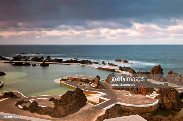 natural pool, porto moniz, madeira, portugal - lareira stock pictures, royalty-free photos & images