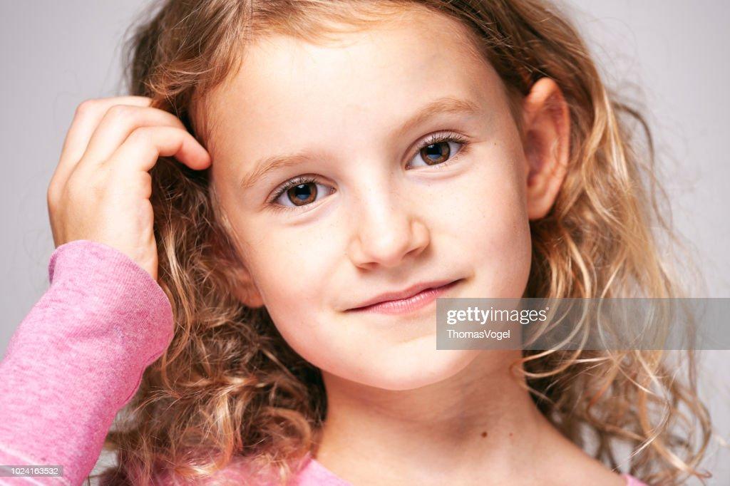 Natural Portrait Of A Cute Little Girl Face Hair Beauty Fun Eyes
