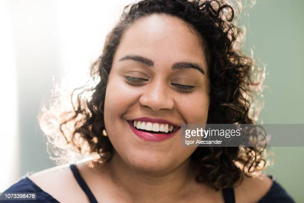 natural portrait of a woman feeling good - extreme close up stock pictures, royalty-free photos & images