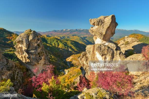 natural rock phenomenon svatbata, rhodope mountains, bulgaria - light natural phenomenon stock pictures, royalty-free photos & images