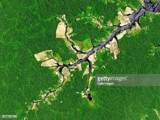 Natural satellite image of deforestation on the banks of Rio Jacu in the State of Amazonas Brazil